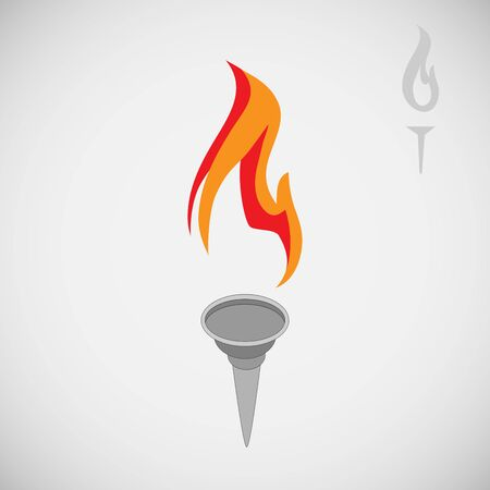 Torch vector icon isolated . Flambeau flat style. Cresset sign. Flame illustration. Flaming figure. Colorful emblem