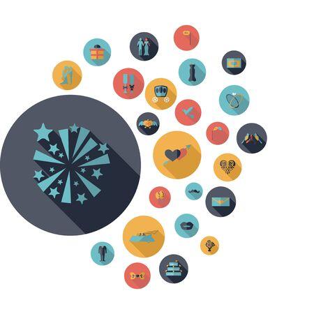 coeur en diamant: concept de design plat avec collection d'ombre mariage
