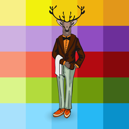 ranger: moose in the form of a man Animals as people Illustration