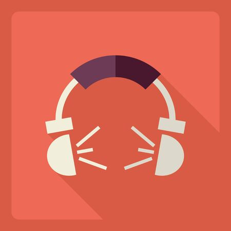 Flat modern design with shadow  Icon headphone