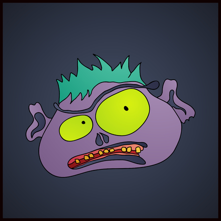 Zombies cartoon face on a dark background