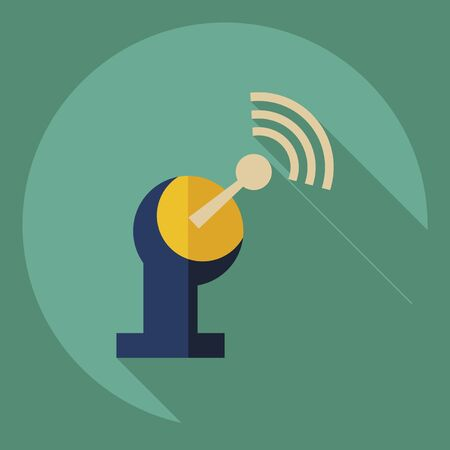 transmitting: Flat modern design with shadow  Icon satellite