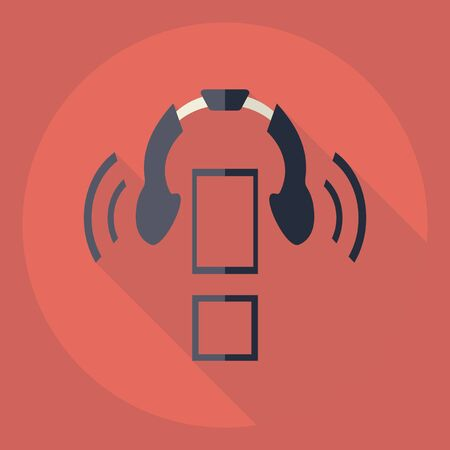 Flat modern design with shadow  Icon headphones Illustration