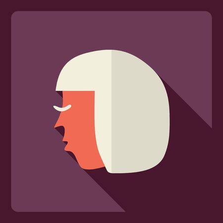 woman shadow: Flat modern design with shadow  Icon woman