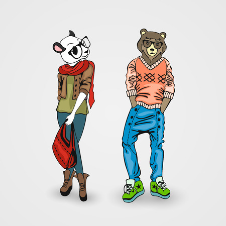 anthropomorphism: Animals in human form, creative beasts in full growth Illustration