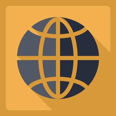 flat earth: Flat modern design with shadow  Icon Earth