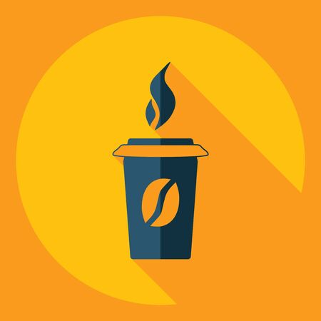 Flat modern design with shadow  Icon coffee