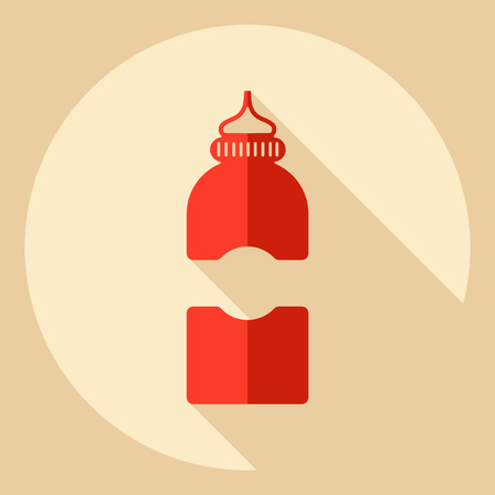 contemporary taste: Flat modern design with shadow  Icon ketchup Illustration