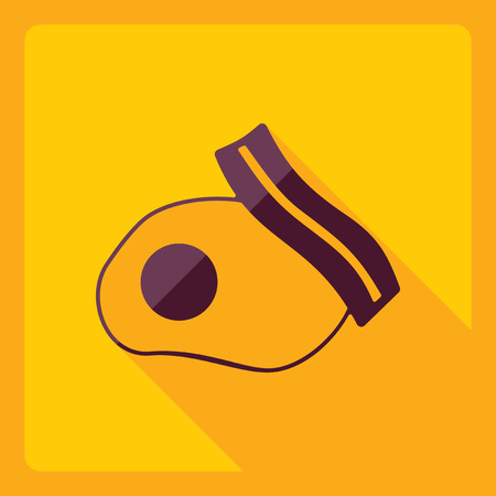 Flat modern design with shadow  Icon bacon and eggs