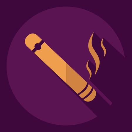 cuban cigar: Flat modern design with shadow  Icon cigar