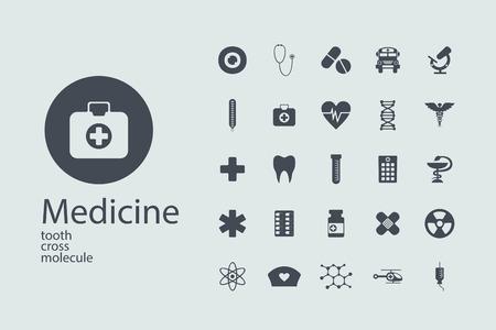 Set flache Design-Konzept Symbole für Medizin
