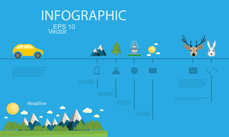 advanced: Advanced detailed information chart with the scenery of the mountains Illustration