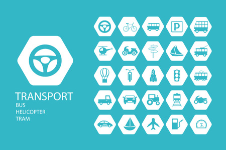 a collection of 25 pieces of flat icons on the theme of transport in creative assembly