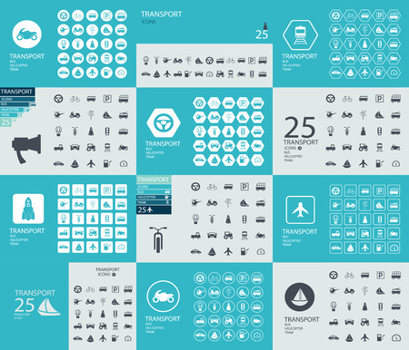 private jet: a collection of 25 pieces of flat icons on the theme of transport in creative assembly