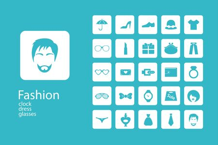 dress up: Assembling flat icons in style in interesting patterns on the theme of fashion