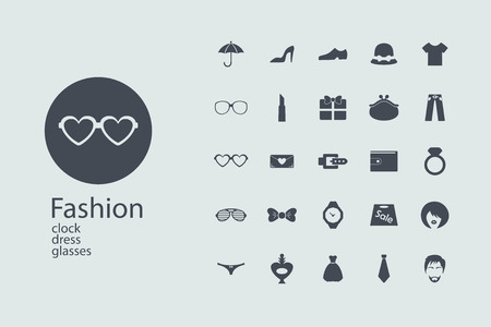 assembling: Assembling flat icons in style in interesting patterns on the theme of fashion