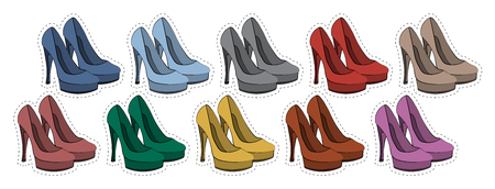 femal: Vector set of stickers badges female shoes in different colors 80s-90s comic style