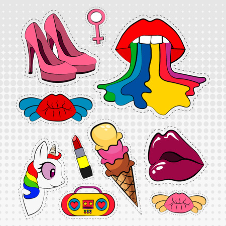 80s: Vector icons set of stickers in different colors 80s 90s in comic style