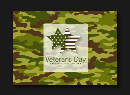 conceal: Template brochure Veterans Day in color khaki