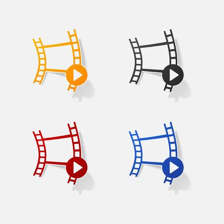 Sticker paper products realistic element design illustration reel of film