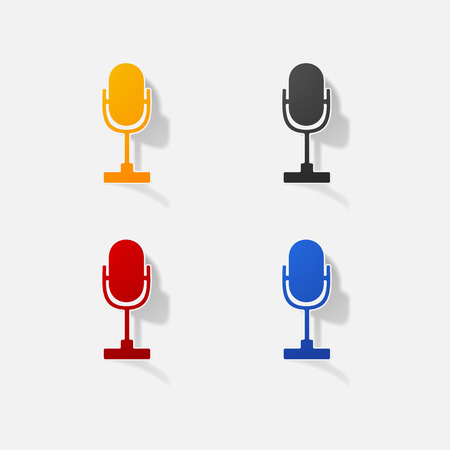 Sticker paper products realistic element design illustration microphone Illustration