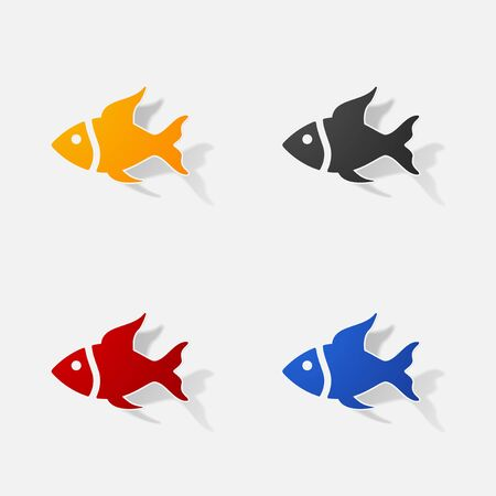 memo: Sticker paper products realistic element design illustration fish Illustration