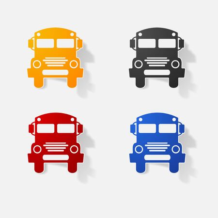 yellow schoolbus: Sticker paper products realistic element design illustration school bus