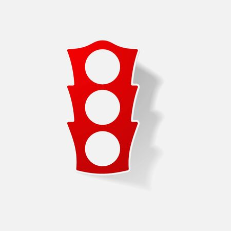 stop and go light: Sticker paper products realistic element design illustration traffic light Illustration