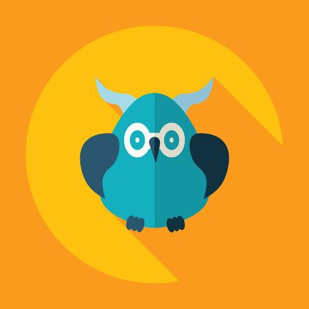Flat modern design with shadow Icon  owl