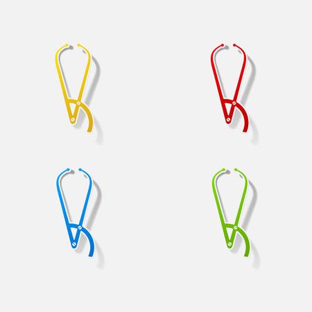 forceps: Sticker paper products realistic element design illustration forceps dentist Illustration