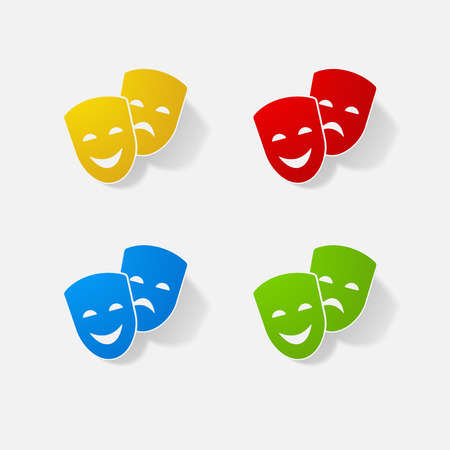 Sticker paper products realistic element design comedy and tragedy masks