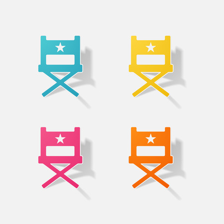 Sticker paper products realistic element design illustration director chair Illustration
