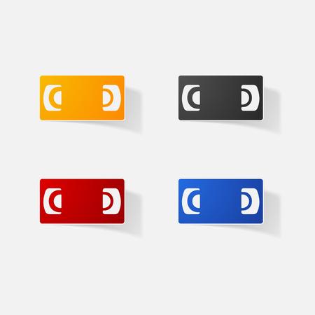 vcr: Sticker paper products realistic element design illustration cassette VCR