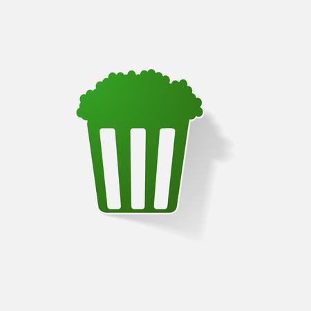 pop corn: Sticker paper products realistic element design illustration popcorn