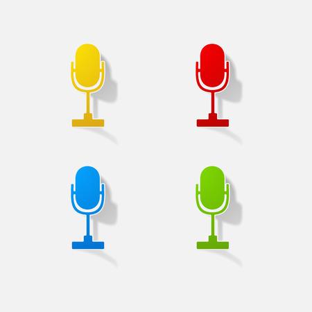 Sticker paper products realistic element design illustration microphone Illustration