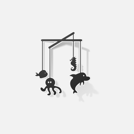childrens toy hanging over the crib Illustration