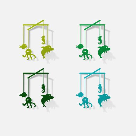 bisphenol a: childrens toy hanging over the crib Illustration