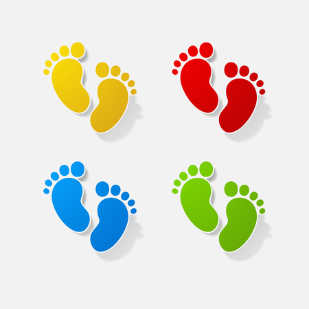 Sticker paper products realistic element design illustration childrens footprint Illustration