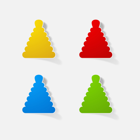 Sticker paper products realistic element design illustration toy pyramid