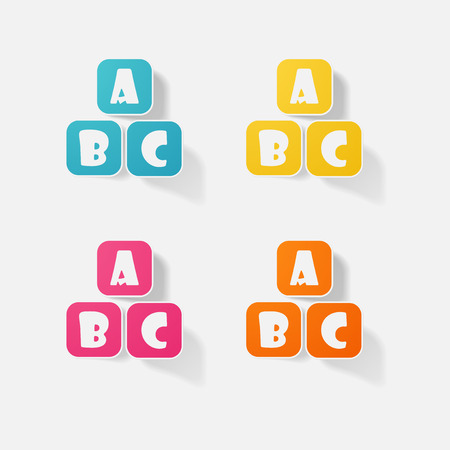 prodotti di carta adesivo elemento realistico disegno di lettere abc
