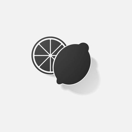 Aufkleber Papier Produkte realistische Element Design Illustration Zitrone