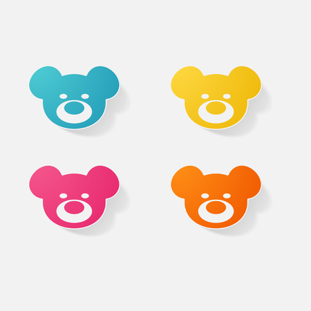 bebe a bordo: Sticker paper products realistic element design illustration teddy bear Vectores