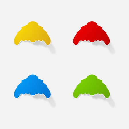 Sticker paper products realistic element design illustration croissant Illustration