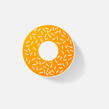 Sticker paper products realistic element design illustration donut Illustration
