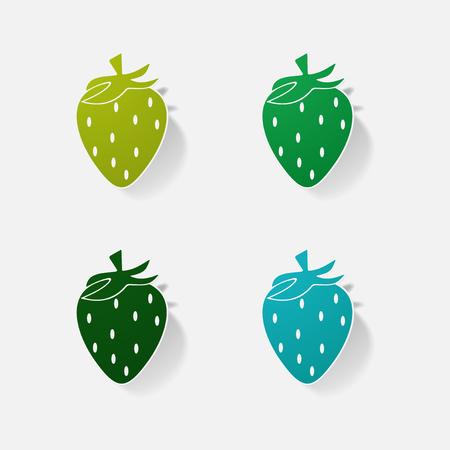 Sticker paper products realistic element design illustration Strawberry Illustration