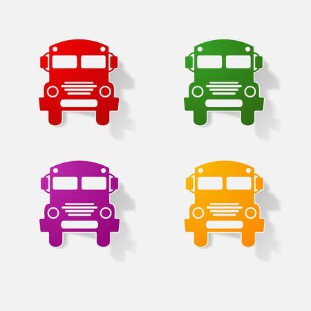 schoolbus: Sticker paper products realistic element design illustration school bus