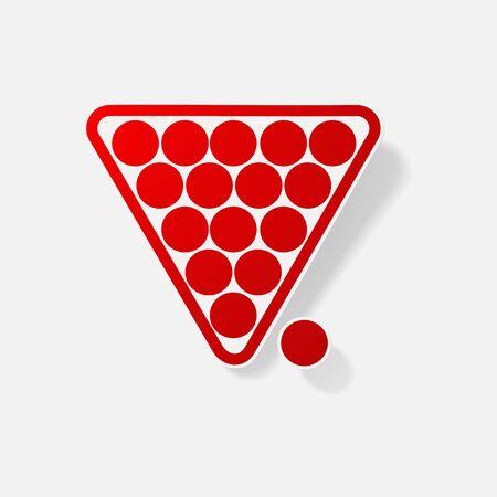 cue ball: Sticker paper products realistic element design illustration billiard pyramid Illustration