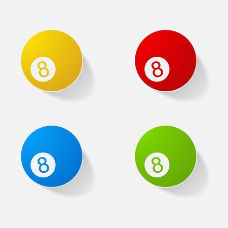 Sticker paper products realistic element design illustration billiard ball