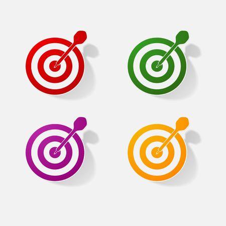 dartboard: Sticker paper products realistic element design illustration darts