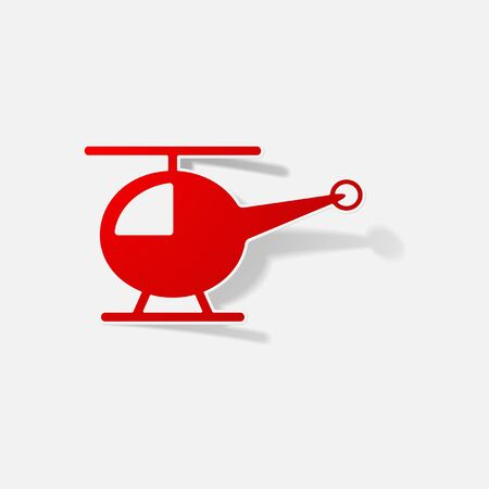 Sticker paper products realistic element design illustration helicopter